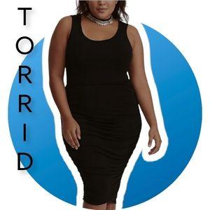 Torrid Black shirred jersey bodycon dress Size 1X